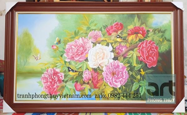 xưởng tranh phong thủy vẽ hoa mẫu đơn đẹp nhất