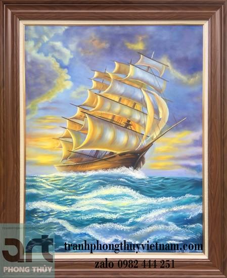 tranh phong cảnh biển thuận buồm xuôi gió