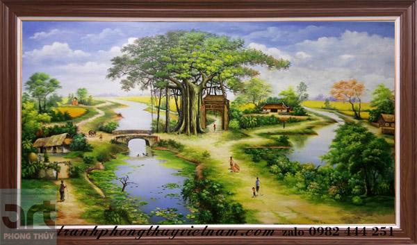 tranh phong cảnh làng quê chất liệu sơn dầu