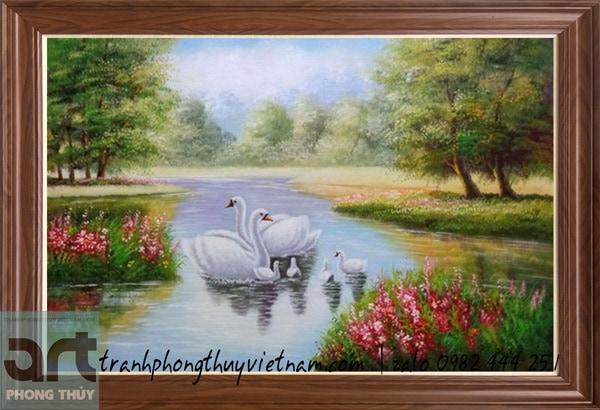 tranh sơn dầu gia đình thiên nga