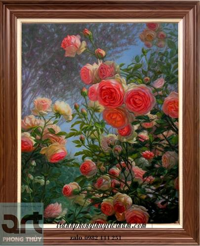 tranh sơn dầu vẽ hoa hồng