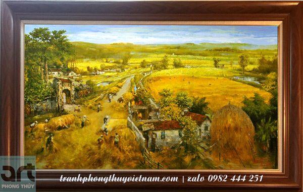 tranh vẽ cảnh làng quê mùa gặt lúa