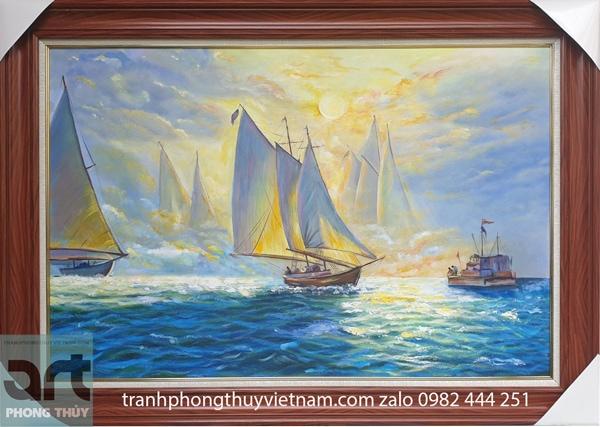 tranh phong cảnh thuyền và biển