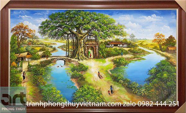 tranh sơn dầu vẽ cảnh làng quê