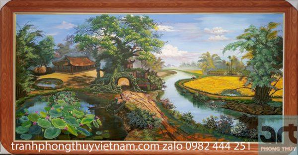 Tranh sơn dầu vẽ phong cảnh làng quê Việt Nam