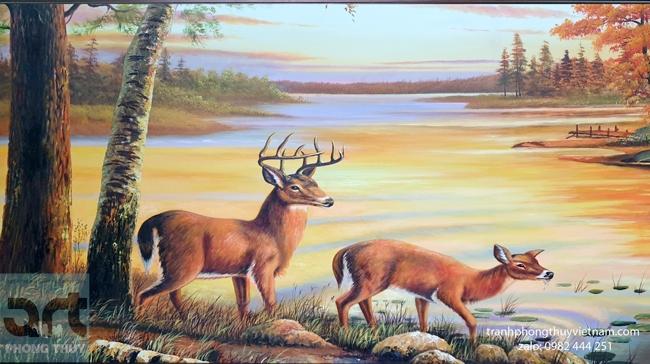tranh đôi hươu bên sông