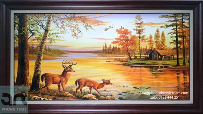 tranh phong thủy đàn hươu bên sông