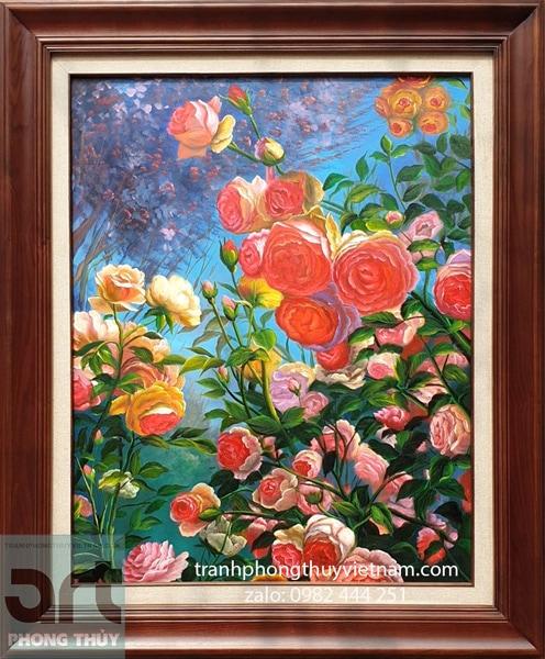 Tranh sơn dầu hoa hồng khung gỗ