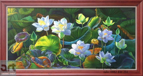 tranh sơn dầu hoa sen đẹp
