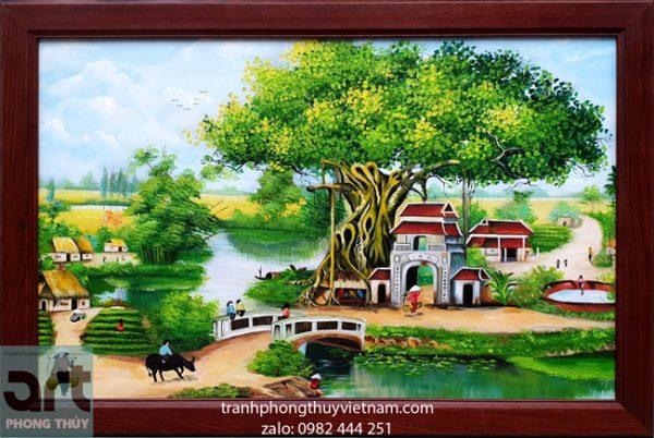 Tranh vẽ cảnh làng quê thanh bình