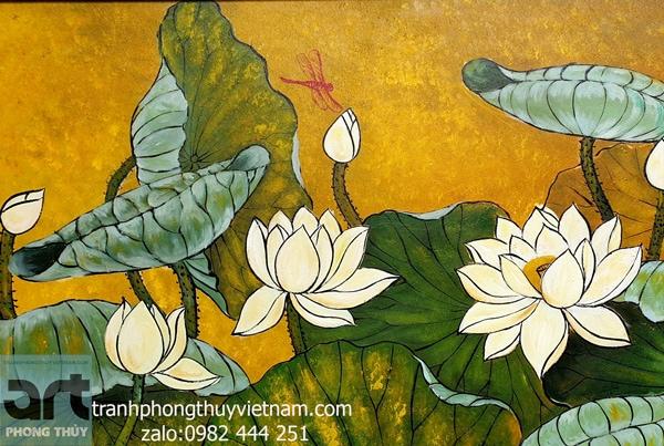 tranh hoa sen sơn dầu bền đẹp