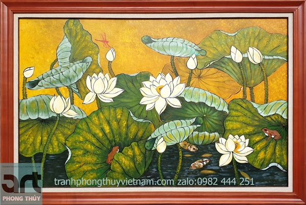tranh hoa sen sơn dầu khung gỗ