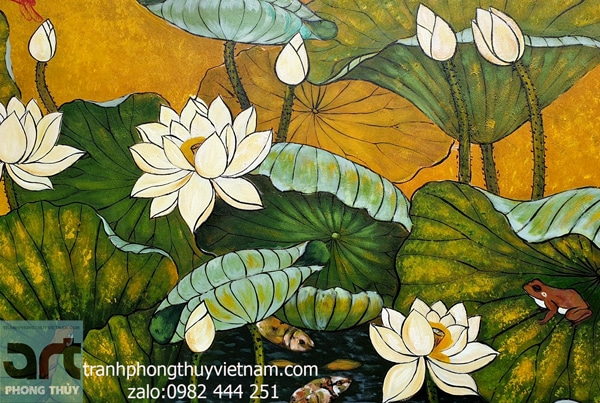 tranh sơn dầu hoa sen khung gỗ