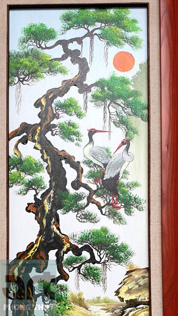tranh tứ quý cây tùng chim hạc