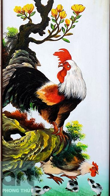 tranh tứ quý chi tiết đàn gà