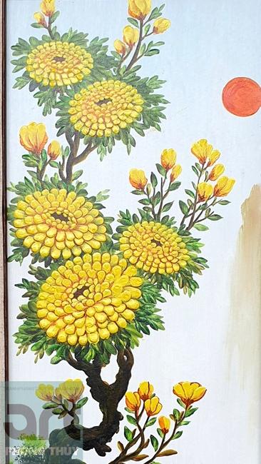tranh tứ quý hoa cúc