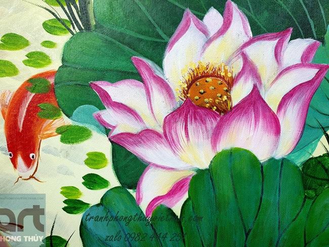 tranh vẽ hoa sen cá chép