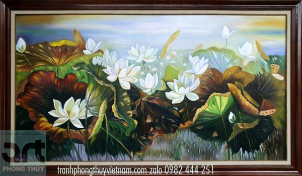 tranh sơn dầu hoa sen đẹp treo trang trí