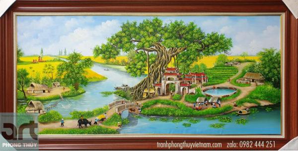 Tranh phong cảnh làng quê treo phòng khách gia đình