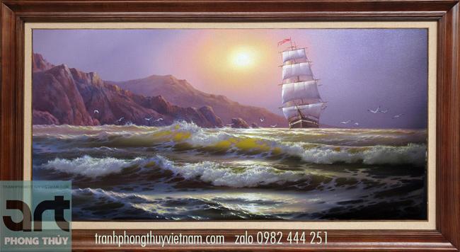 Tranh sơn dầu phong cảnh thuận buồm xuôi gió