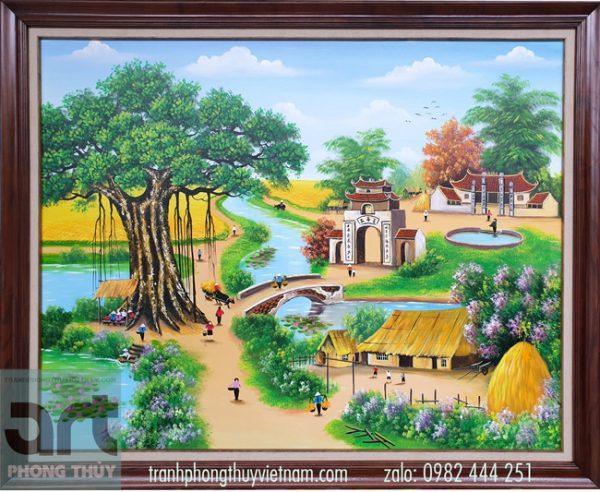 Tranh vẽ phong cảnh làng quê việt nam đẹp nhất