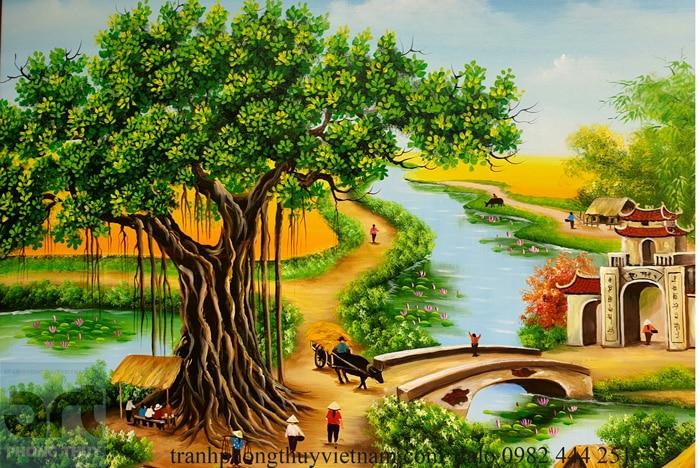 hình ảnh cây đa trong tranh phong cảnh làng quê