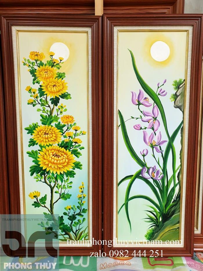 hình ảnh hoa cúc hoa lan trong tranh tứ quý
