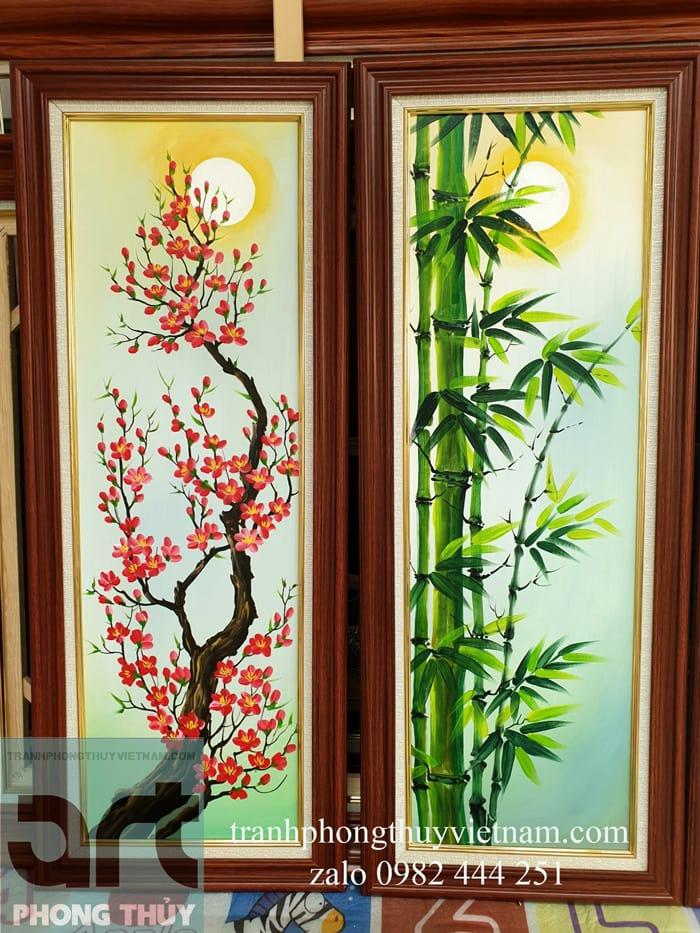 hình ảnh hoa đào cây trúc trong tranh tứ quý