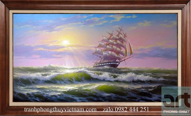 Tranh phong cảnh thuyền biển thuận buồm xuôi gió