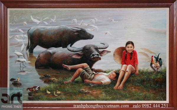 Tranh sơn dầu hoài niệm tuổi thơ