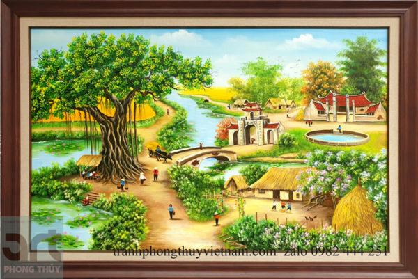 Tranh sơn dầu phong cảnh làng quê khung gỗ