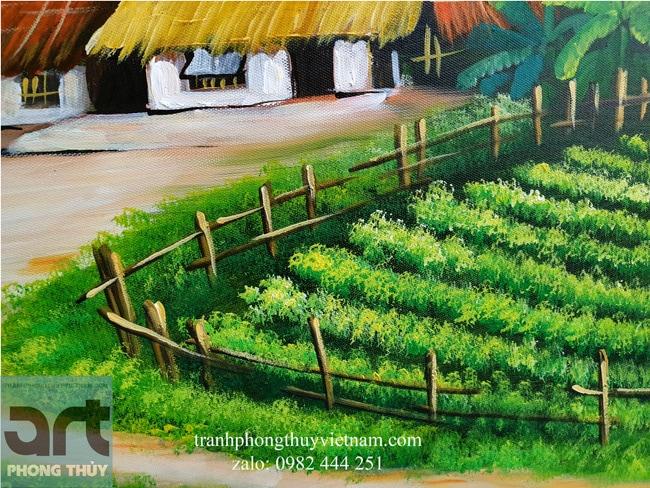 chi tiết trong tranh vẽ làng quê