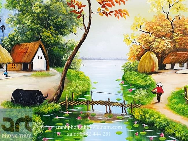 chi tiết hình ảnh con trâu trong tranh vẽ làng quê