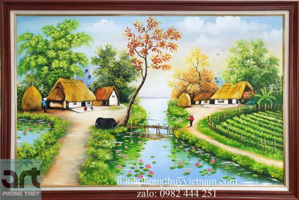 Phong cảnh làng quê tranh sơn dầu