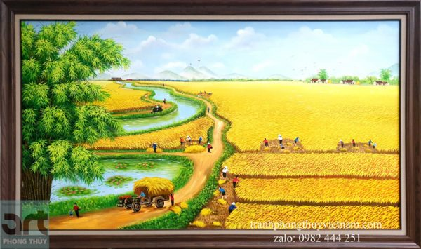 Tranh đồng quê vẽ cánh đồng lúa chín vàng