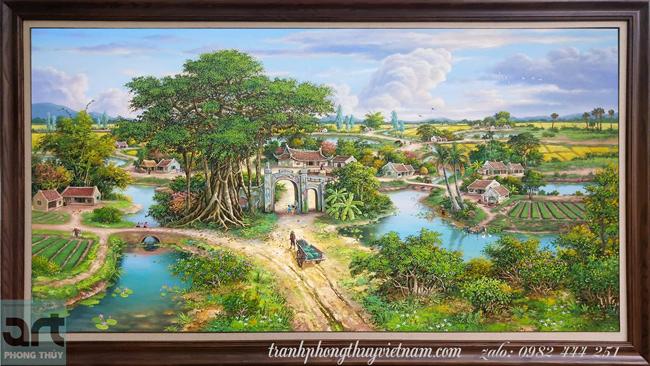 mẫu tranh phong cảnh làng quê đẹp nhất