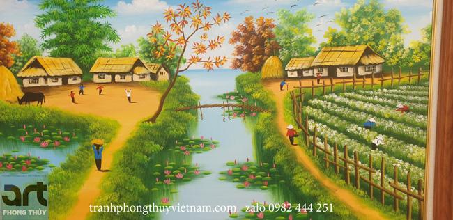 phong cảnh thanh bình trong tranh làng quê