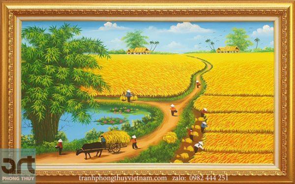 Tranh đồng quê mùa thu hoạch lúa