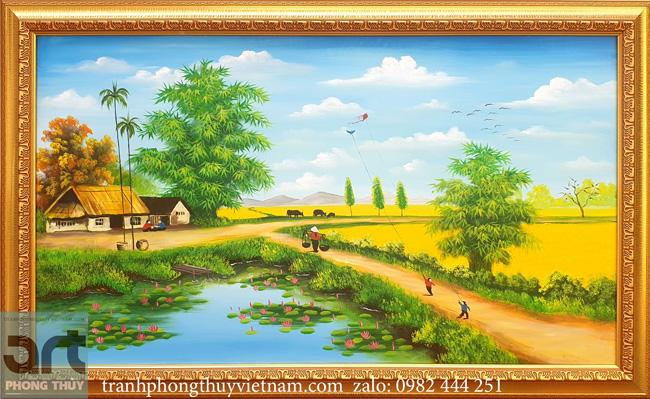 Tranh làng quê cánh diều tuổi thơ