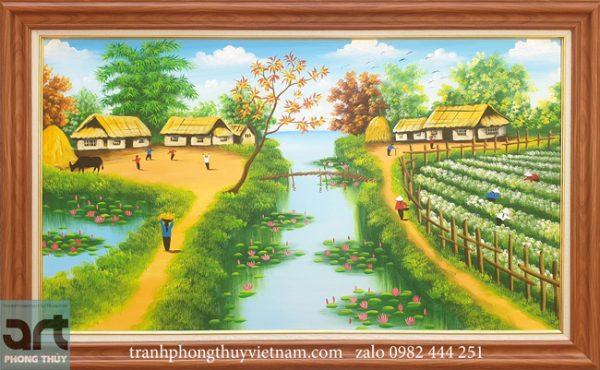 Tranh làng quê phong cảnh yên bình