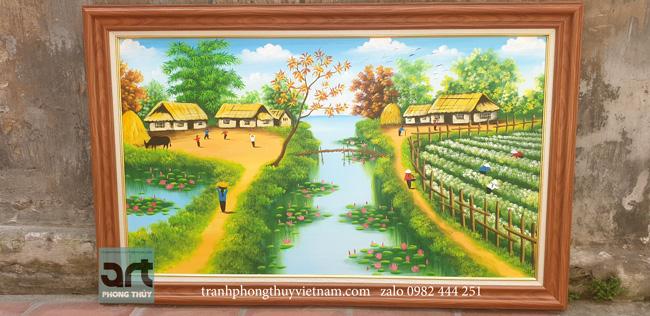tranh làng quê vẽ tại xưởng tranh