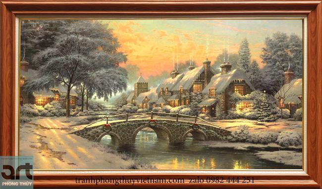 Tranh phong cảnh ngôi nhà hạnh phúc Thomas Kinkade