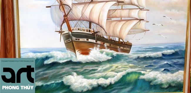 tranh phong thủy thuyền biển thuận buồm xuôi gió