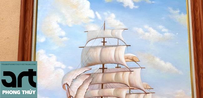 tranh phong thủy thuyền biển treo phòng làm việc