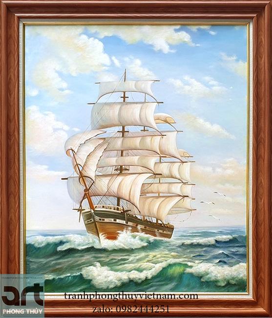 Tranh phong thủy thuyền biển