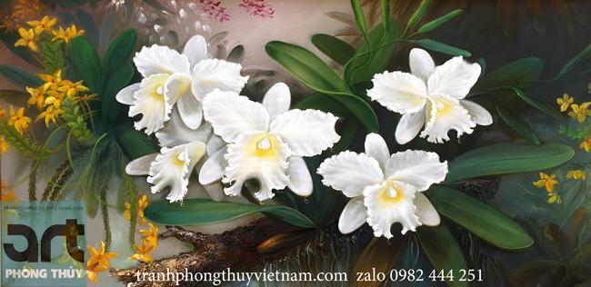 Tranh sơn dầu hoa lan trắng tuyệt đẹp