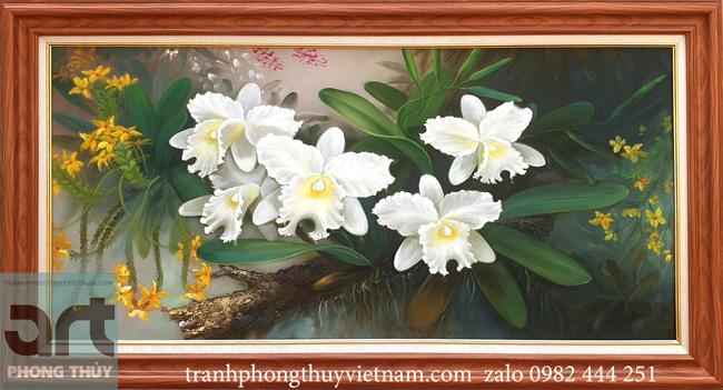 Tranh sơn dầu hoa lan trắng