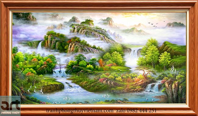 Tranh sơn thủy núi tựa nhìn sông