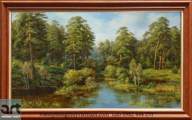Tranh phong cảnh châu âu rừng cây bên suối