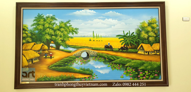 tranh phong cảnh làng quê treo phòng khách